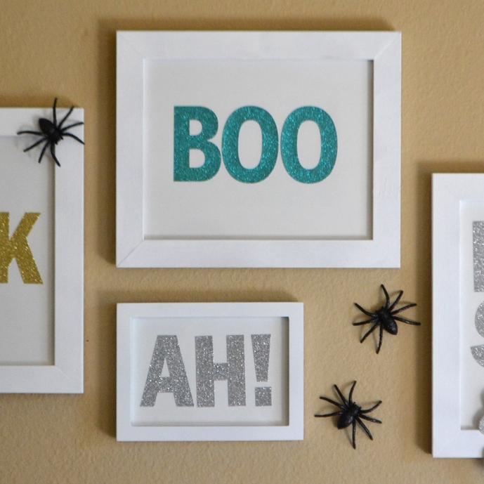 DIY glam Halloween wall art w/ big glitter mambiSTICKS letters