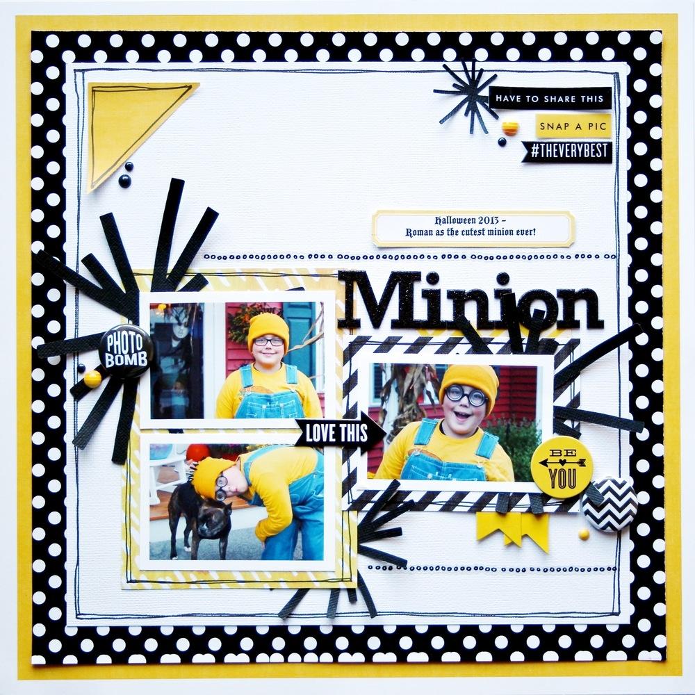 'Minion' scrapbook page of Bubba as a minion - Oct 2013