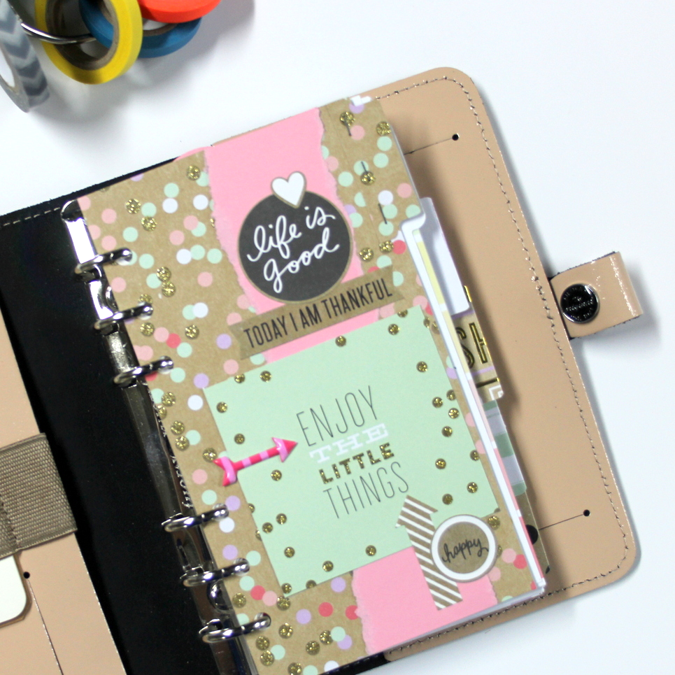 5 customized planner inserts using the 'Gold Rush' paper pad