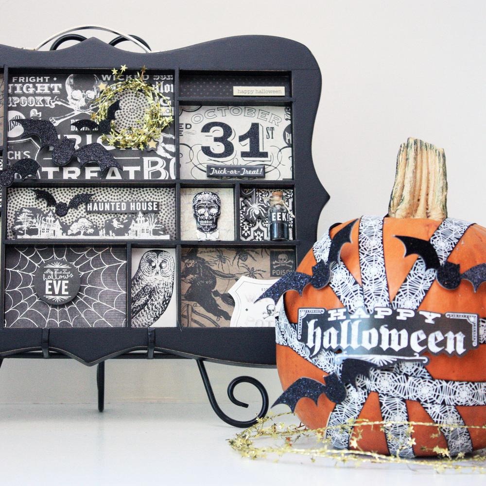 DIY Halloween display tray and no-carve pumpkin decor