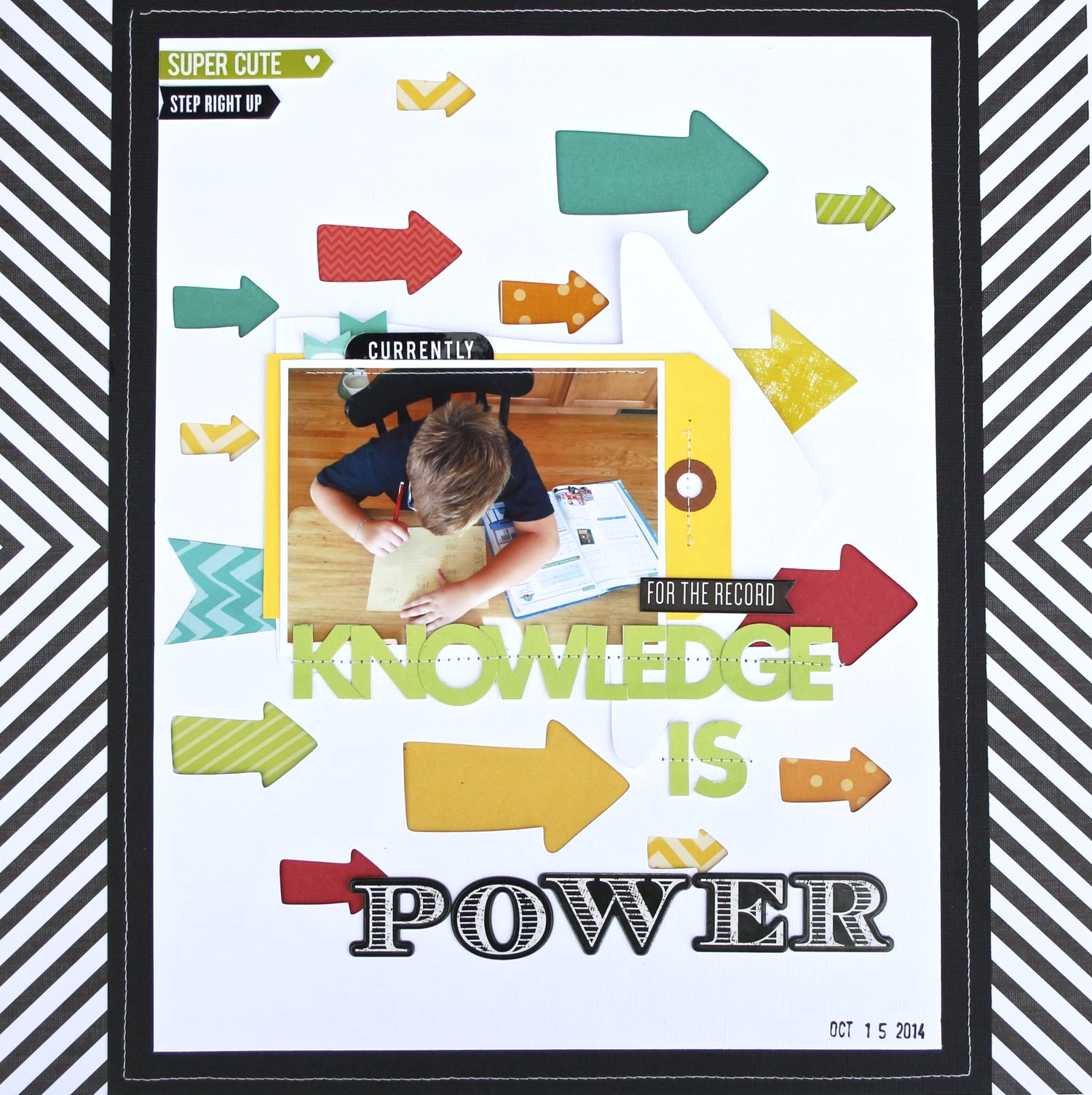 'Knowledge is Power' Scrapbook Page by mambi Deisgn Team member Mary-Ann Maldonado | me & my BIG ideas