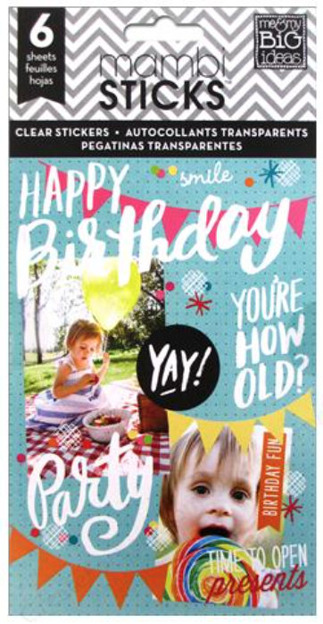 'Happy Birthday' mambiSTICKS clear sticker pack | me & my BIG ideas