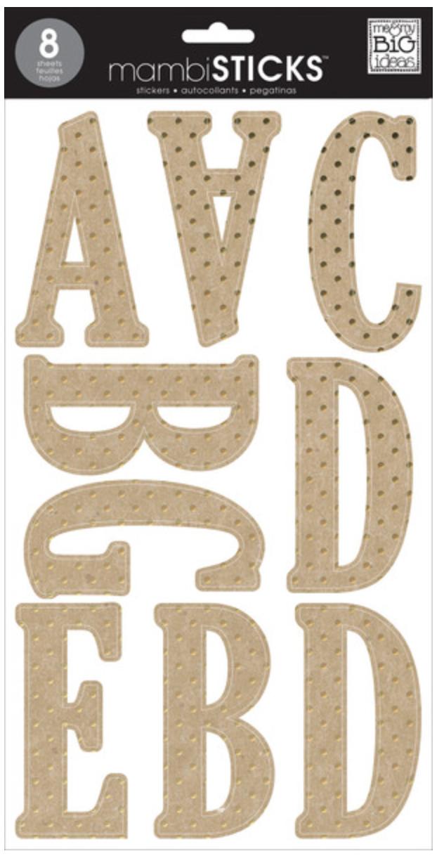 Lincoln Kraft Gold Foil Dots mambiSTICKS XL alphabet stickers | me & my BIG ideas