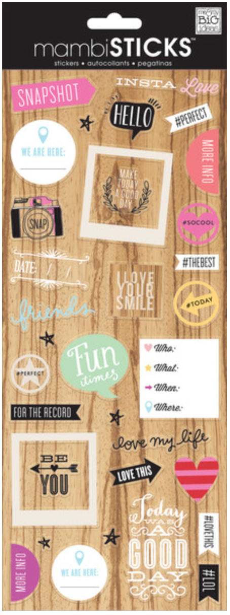 'Insta Love' mambiSTICKS clear stickers | me & my BIG ideas