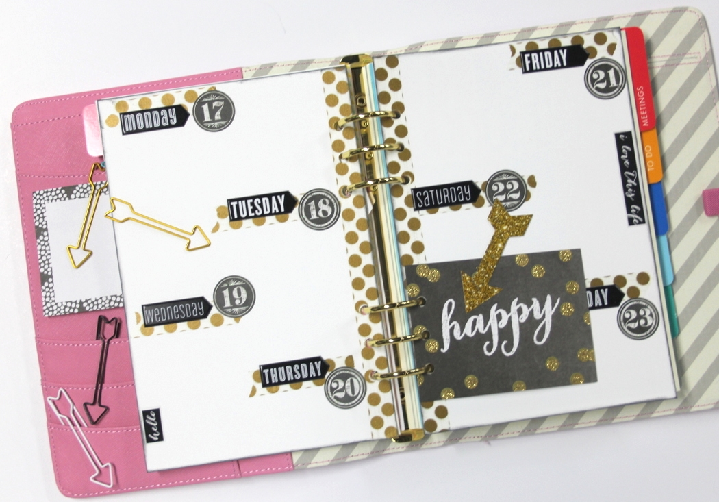 happy black & gold week planner spread by mambi Design Team member Candi Billman | me & my BIG ideas