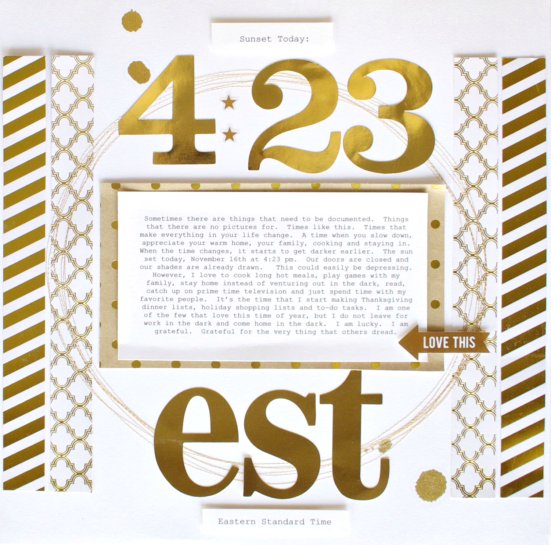 4:23 est. scrapbook page by mambi Design Team member MaryAnn Maldonado | me & my BIG ideas