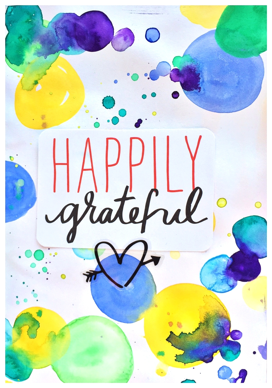 'Happily Grateful' art journal pages by mambi Design Team member Olya Schmidt | me & my BIG ideas