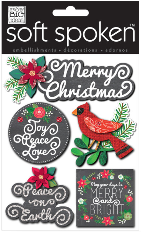 'Joy, Peace, & Love' SOFT SPOKEN™ holiday stickers | me & my BIG ideas