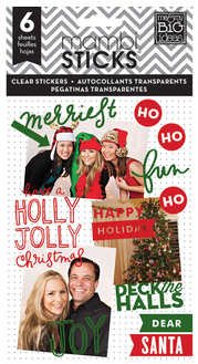 'Holly Jolly Christmas' mambiSTICKS holiday red & green clear stickers pack