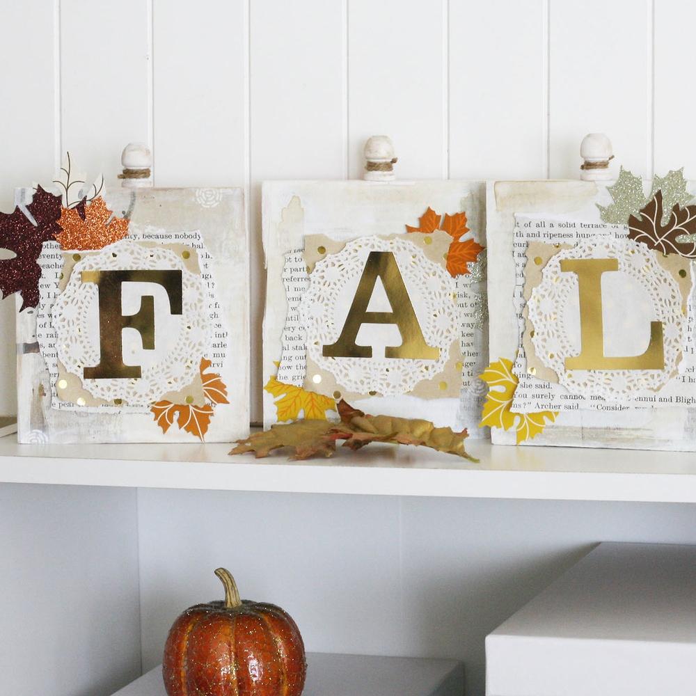 'FALL' wood word blocks using gold foil mambiSTICKS
