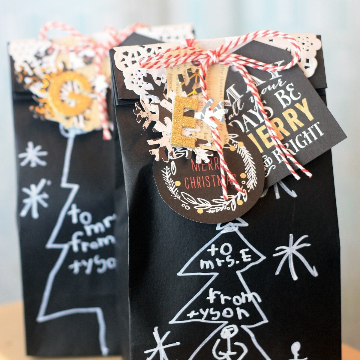 'Merry Christmas' gift bags for you child's teacher(s)
