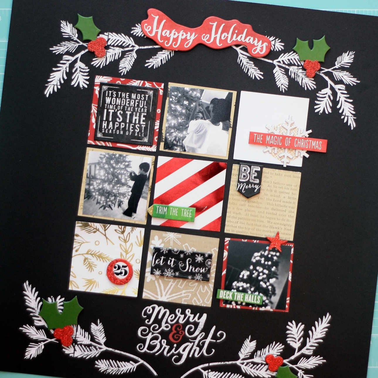 simple 'Merry & Bright' grid scrapbook layout