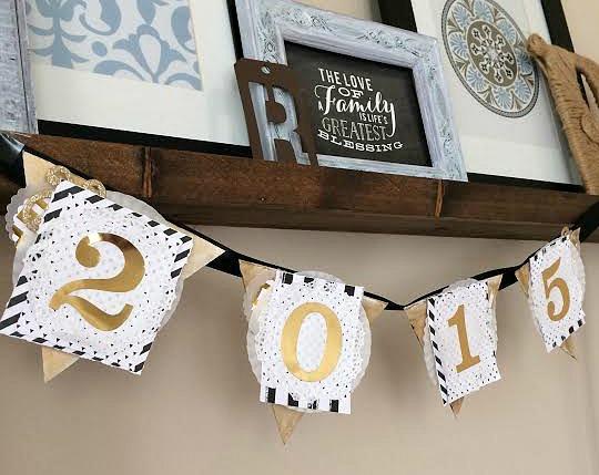 New Year 2015 Black White & Gold Banner by mambi Desiign Team member Jen Randall | me & my Big ideas