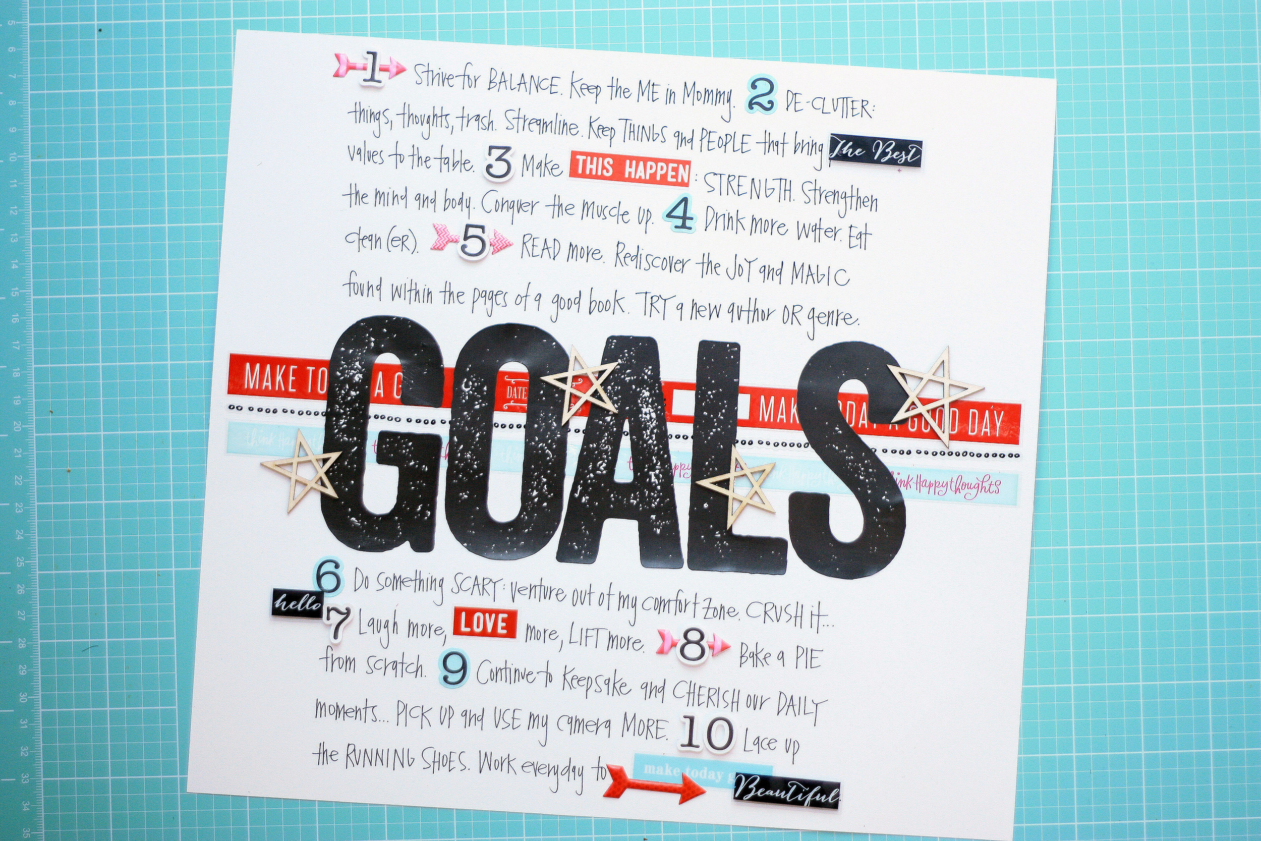 New Year's GOALS scrapbook page by mambi Design Team member April Orr | me & my BIG ideas