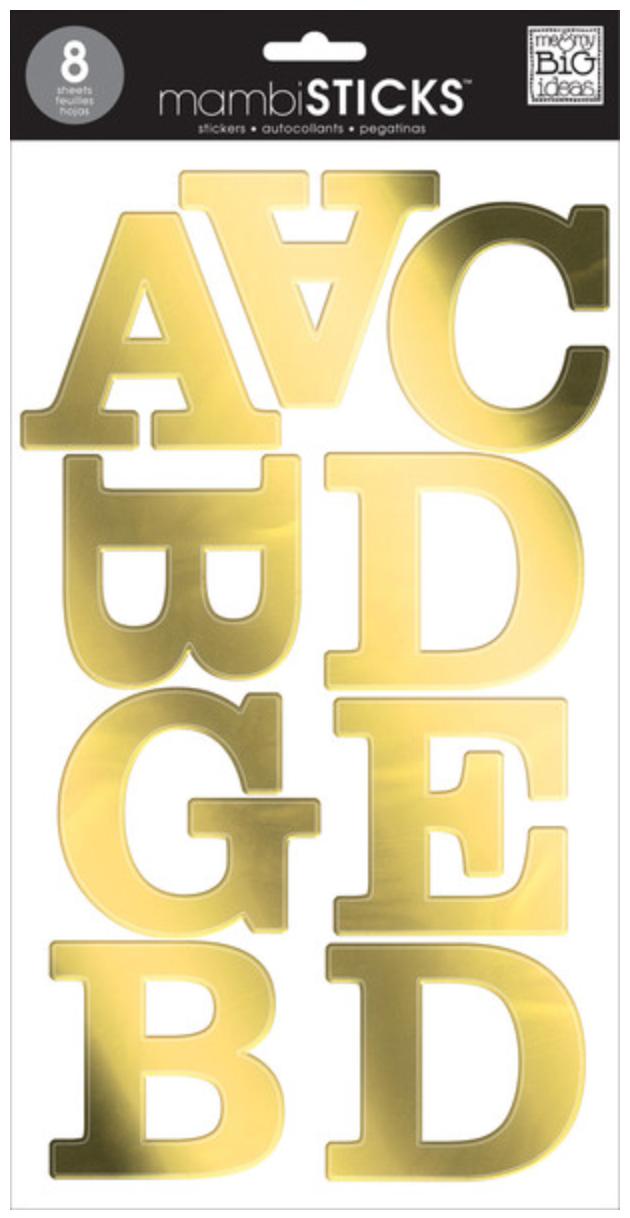 Gold Foil Uppercase mambiSTICKS jumbo alphabet stickers | me & my BIG ideas