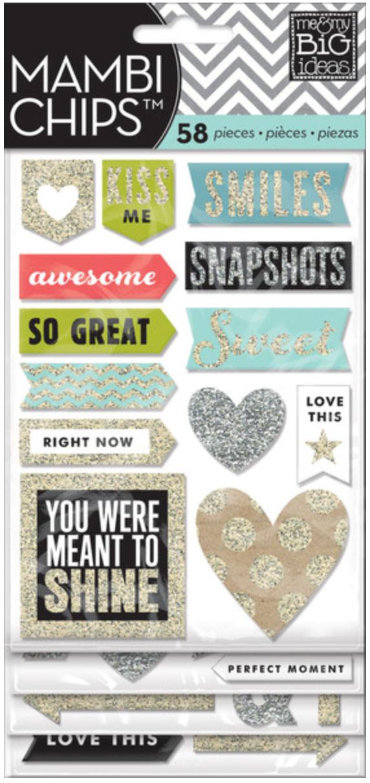 Silver & Gold Glitter mambiCHIPS chipboard sticker pack | me & my BIG ideas
