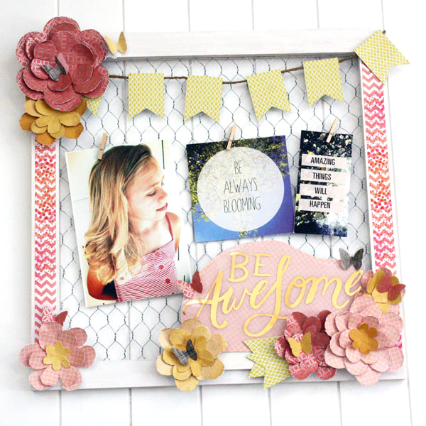'Be Awesome' mixed media scrapbook layout by mambi Design Team member Jen Randall | me & my BIG ideas