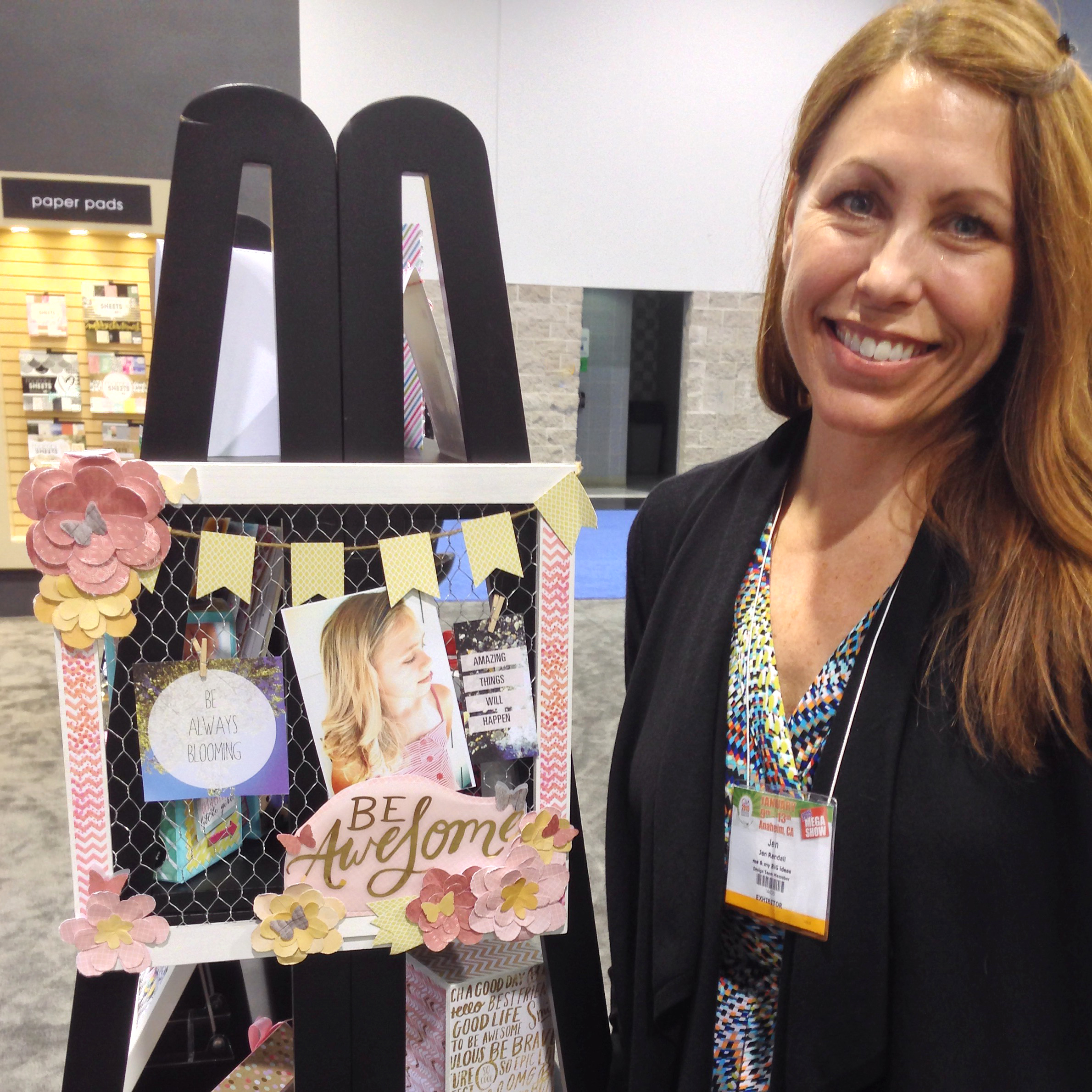 'Be Awesome' mixed media scrapbook layout by mambi Design Team member Jen Randall hanging in the booth @ CHA 2015 | me & my BIG ideas
