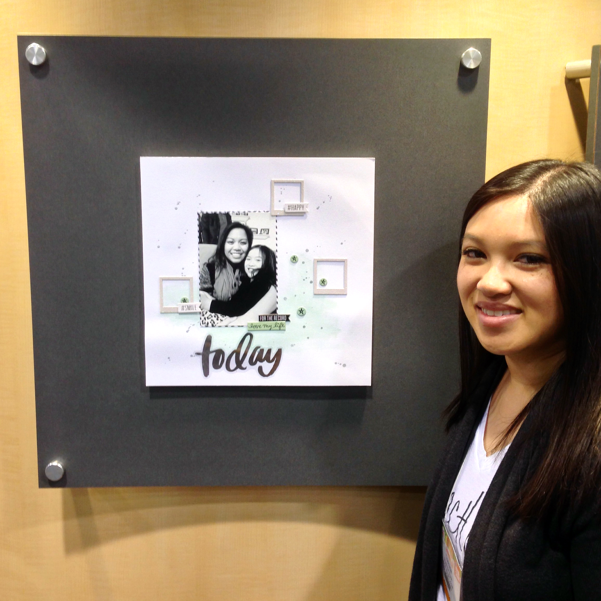 'Today' scrapbook layout by mambi Design Team member Theresa Doan on display in the booth @ CHA 2015 | me & my BIG ideas