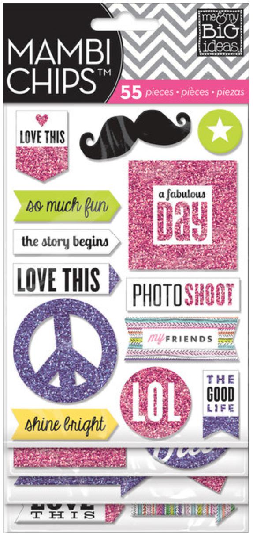 Pink & Purple Glitter mambiCHIPS chipboard sticker pack   me & my BIG ideas