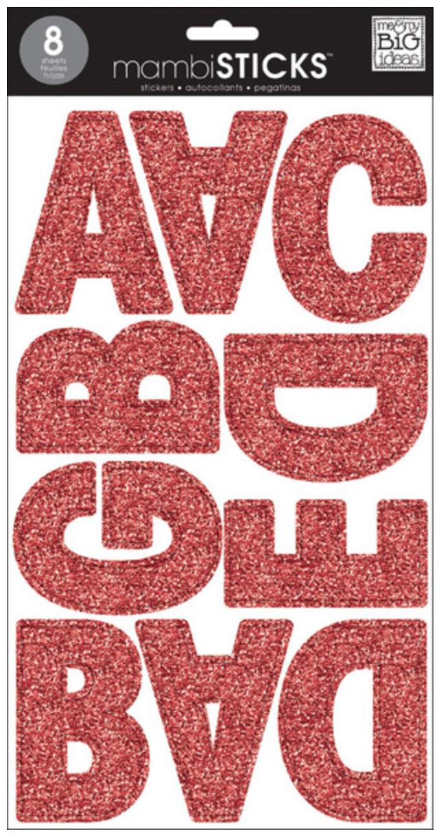 Red Glitter Uppercase Jumbo Alpha mambiSTICKS   me & my BIG ideas