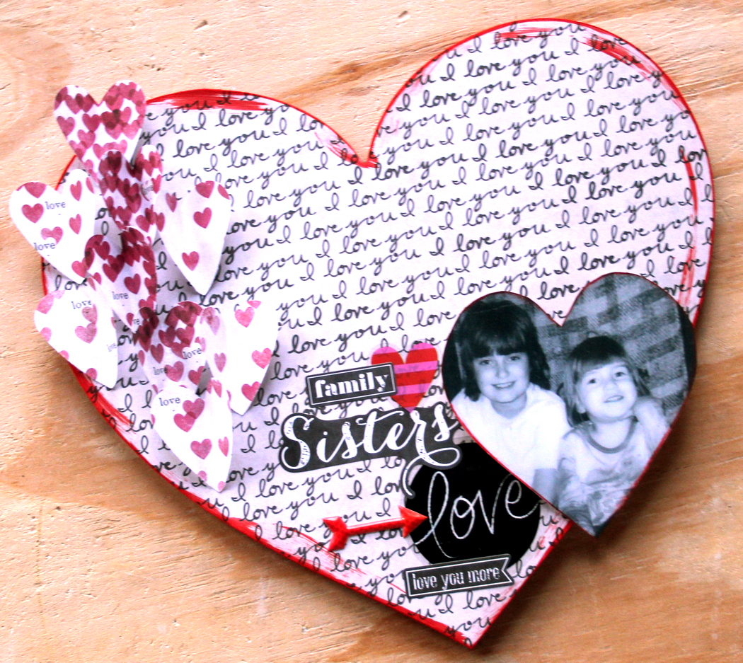 Heart-Shaped Wall Mount  of Sister Love for Valentine's Day by mambi Design Team member Candi Billman | me & my BIG ideas