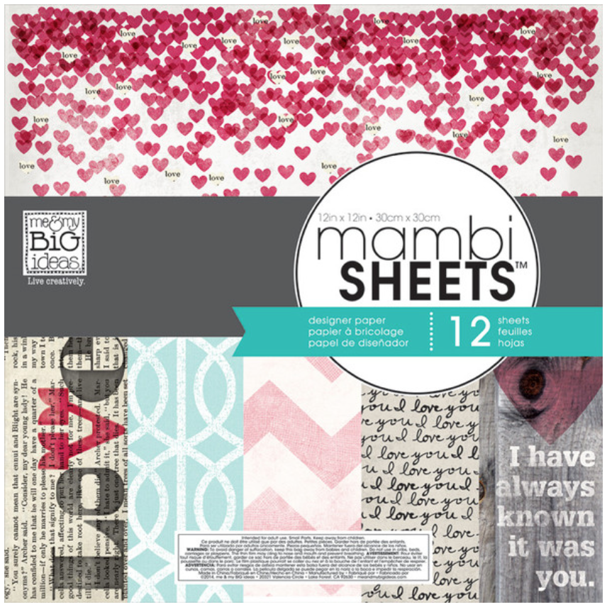 'Stright to the Heart' 12x12 mambiSHEETS paper pad | me & my BIG ideas
