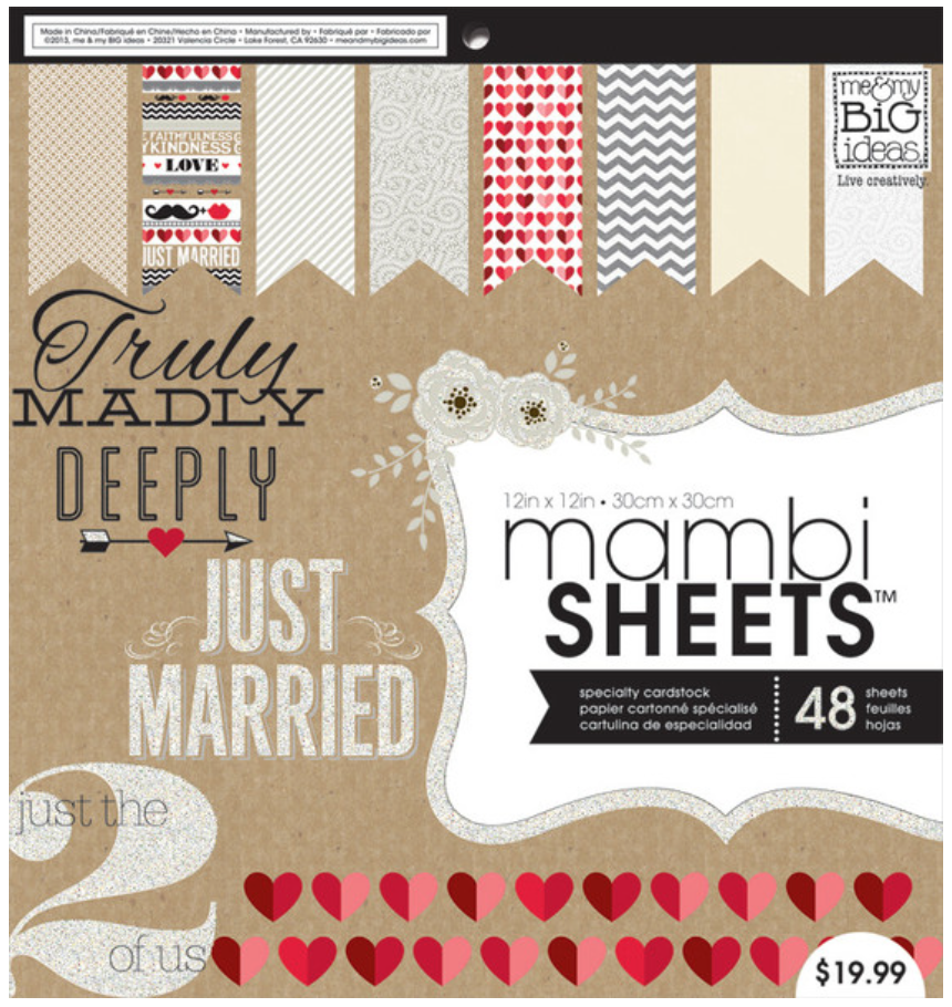 'Kraft Wedding' 12x12 mambiSHEETS paper pad | me & my BIG ideas