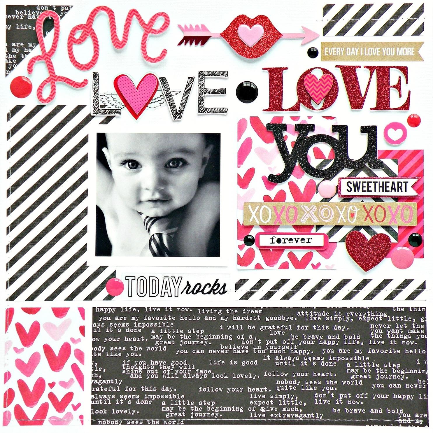 'Love Love Love You' scrapbook layout