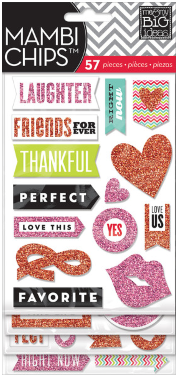 Red & Pink Glitter mambiCHIPS chipboard stickers | me & my BIG ideas
