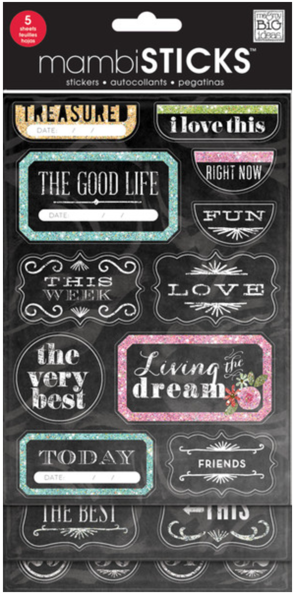 'The Good Life' mambiSTICKS Chalkboard Value Pack stickers | me & my BIG ideas
