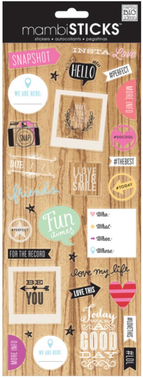 'Insta Love' mambiSTICKS clear stickers | me & my BIG ideas