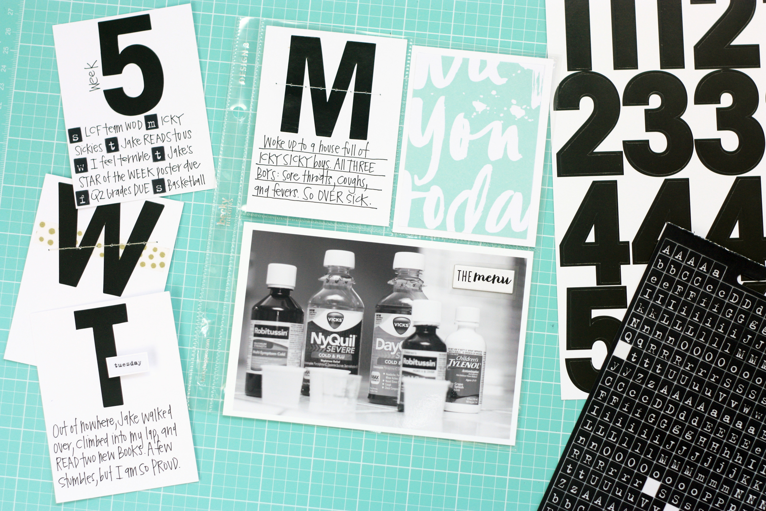 bold black&white POCKET PAGES™ using jumbo mambiSTICKS alphas by mambi Design Team member April Orr | me & my BIG ideas