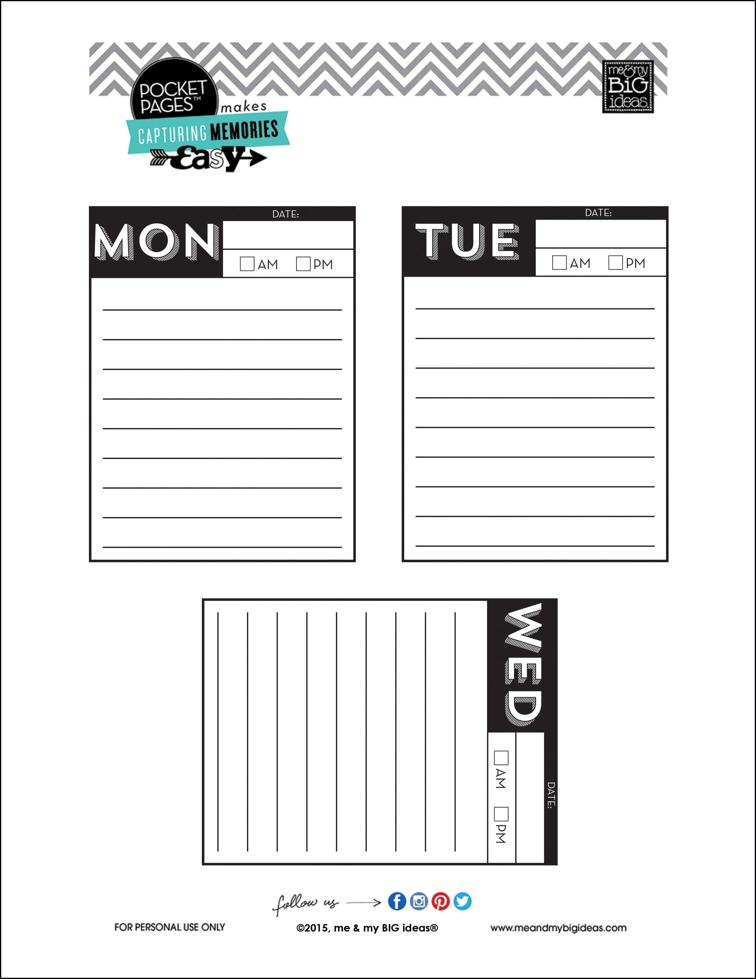 Days of the Week POCKET PAGES™ free printables | me & my BIG ideas