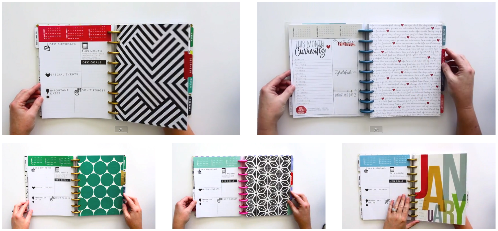 looking inside Create 365™ The Happy Planner™ five different designs | me & my BIG ideas