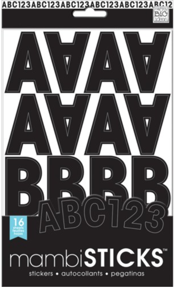 medium Black Uppercase mambiSTICKS alphabet stickers | me & my BIG ideas