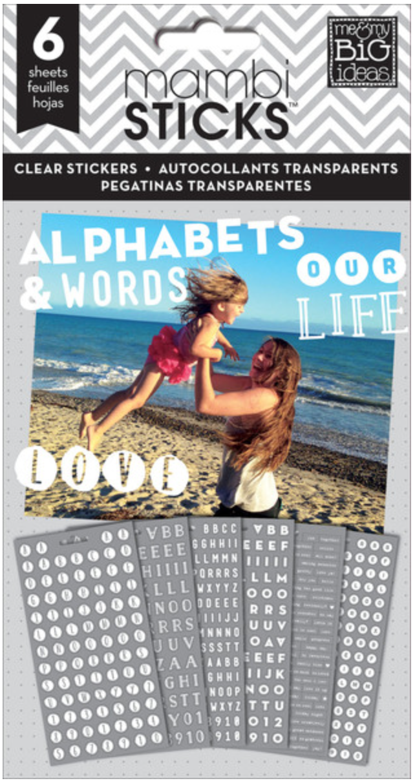 White Alphas & Words mambiSTICKS clear sticker pad | me & my BIG ideas