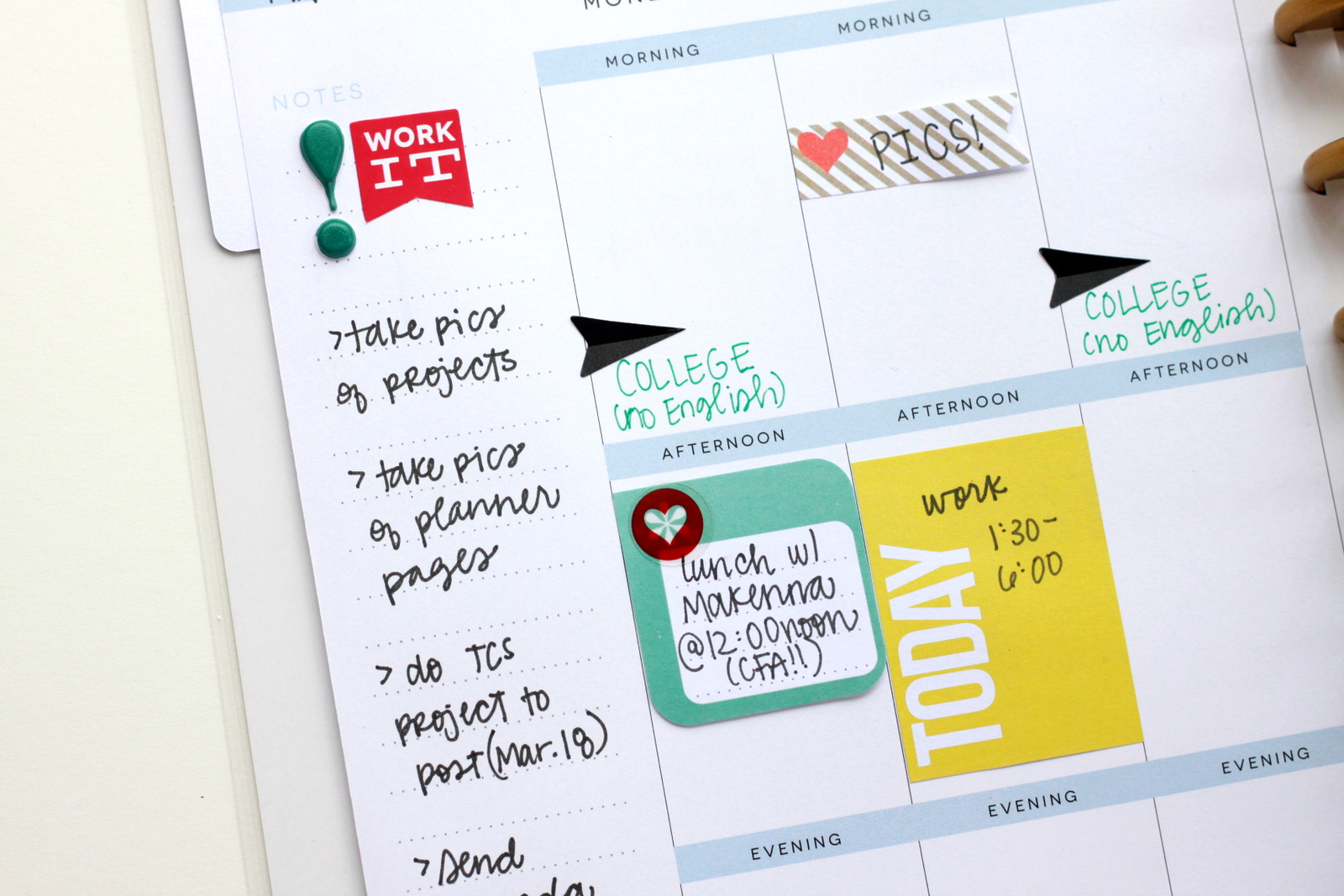 lists of college-ready assignments & ToDo's from mambi Design Team member Heather Adams | me & my BIG ideas