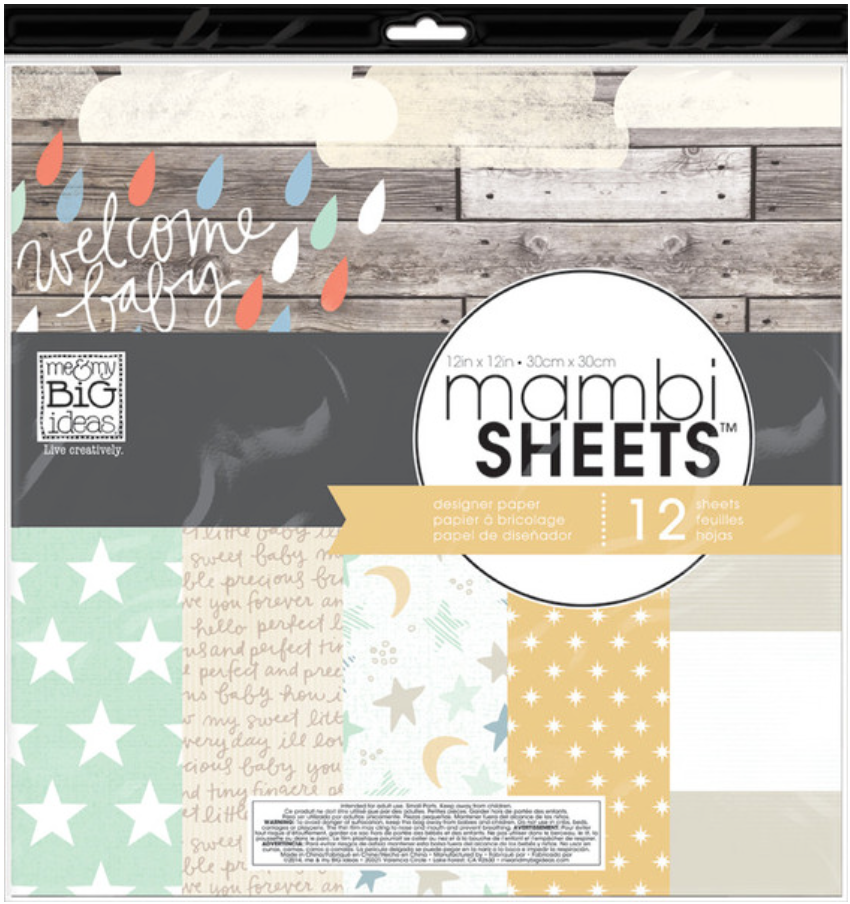 'Welcome Baby' 12x12 mambiSHEETS designer paper pack | me & my BIG ideas