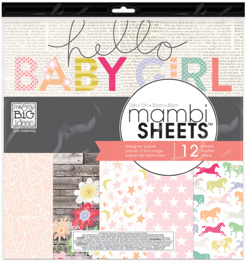 'Sweet Baby Girl' 12x12 mambiSHEETS design paper pack | me & my BIG ideas
