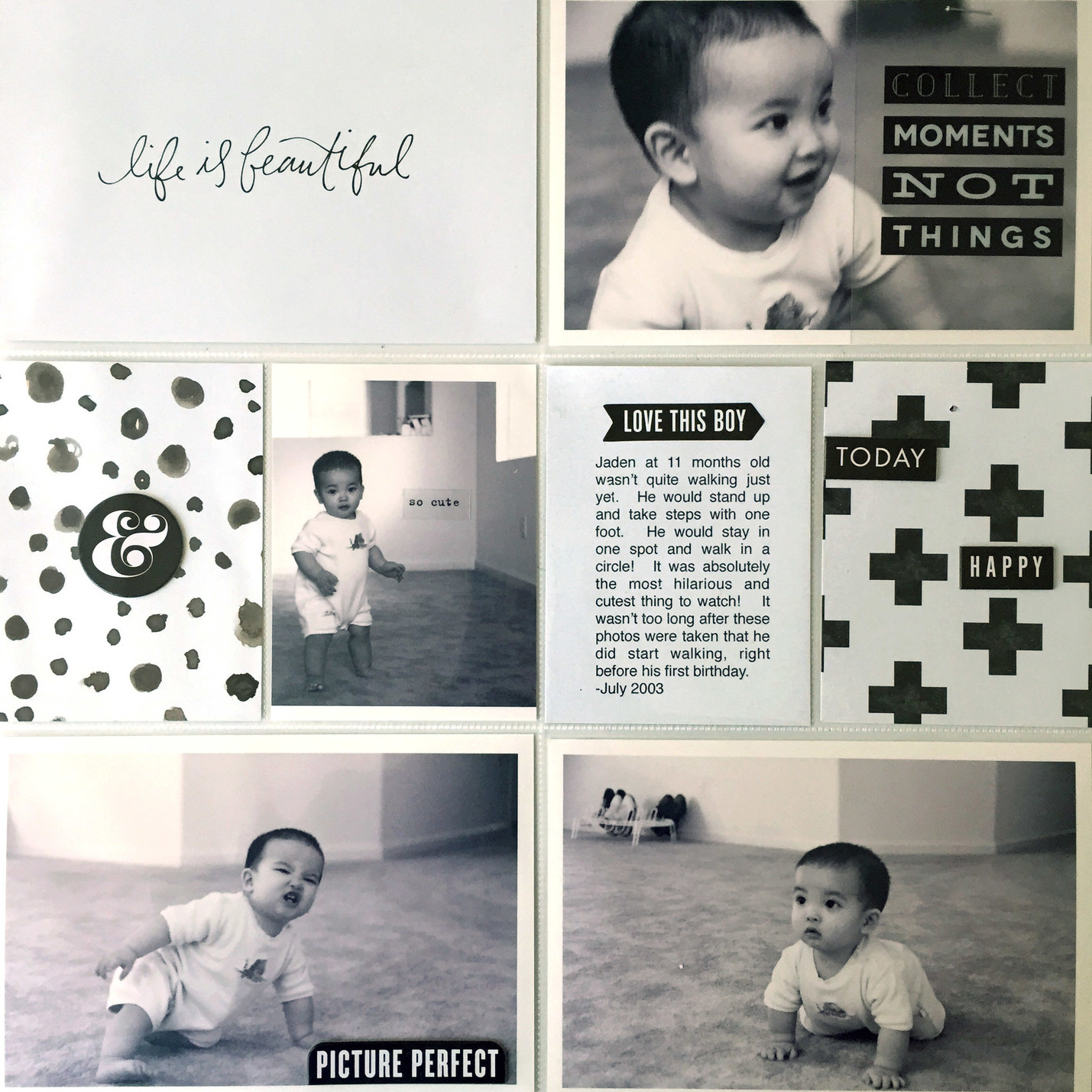 'life is beautiful' b&w POCKET PAGES™