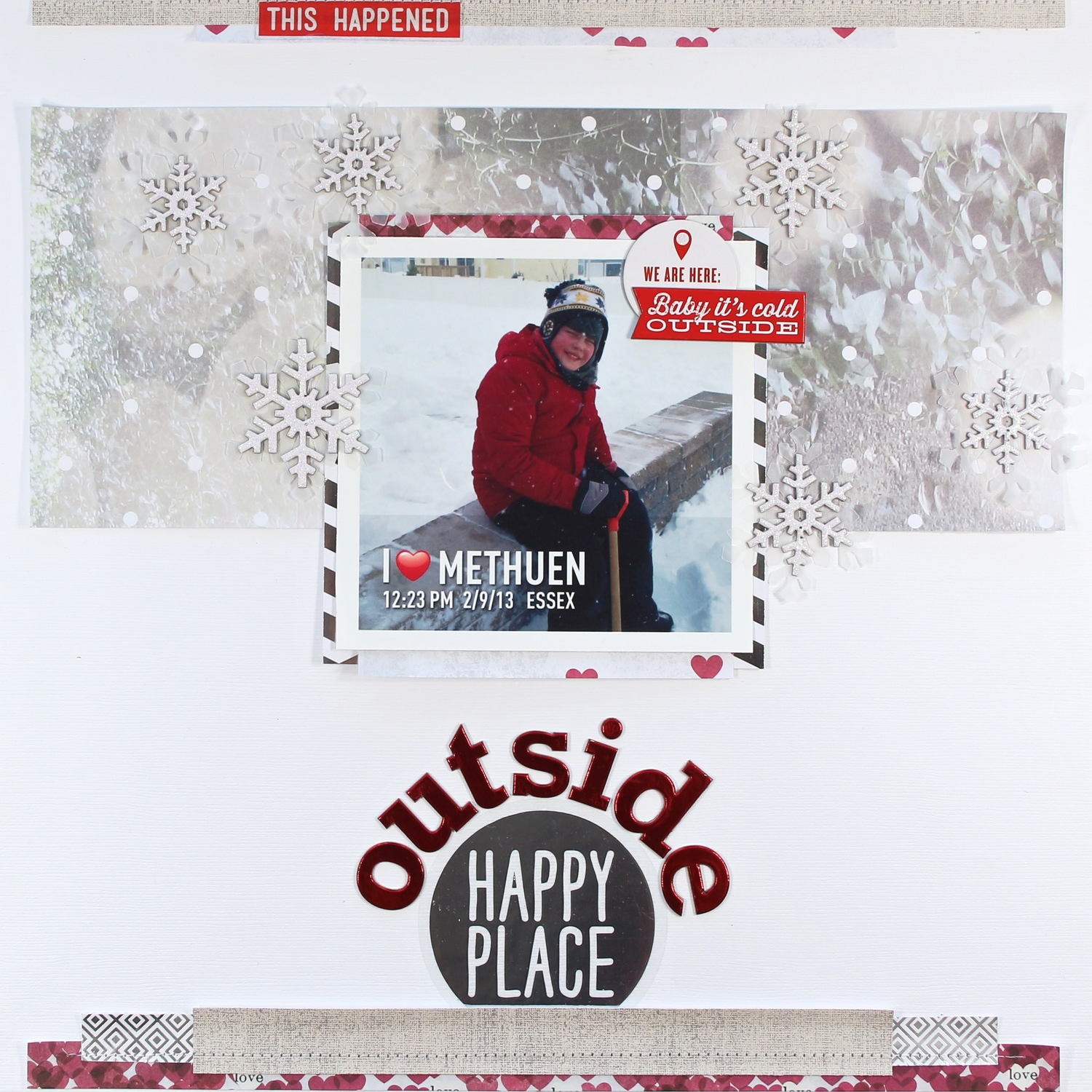 'Outside Happy Place' scrapbook page
