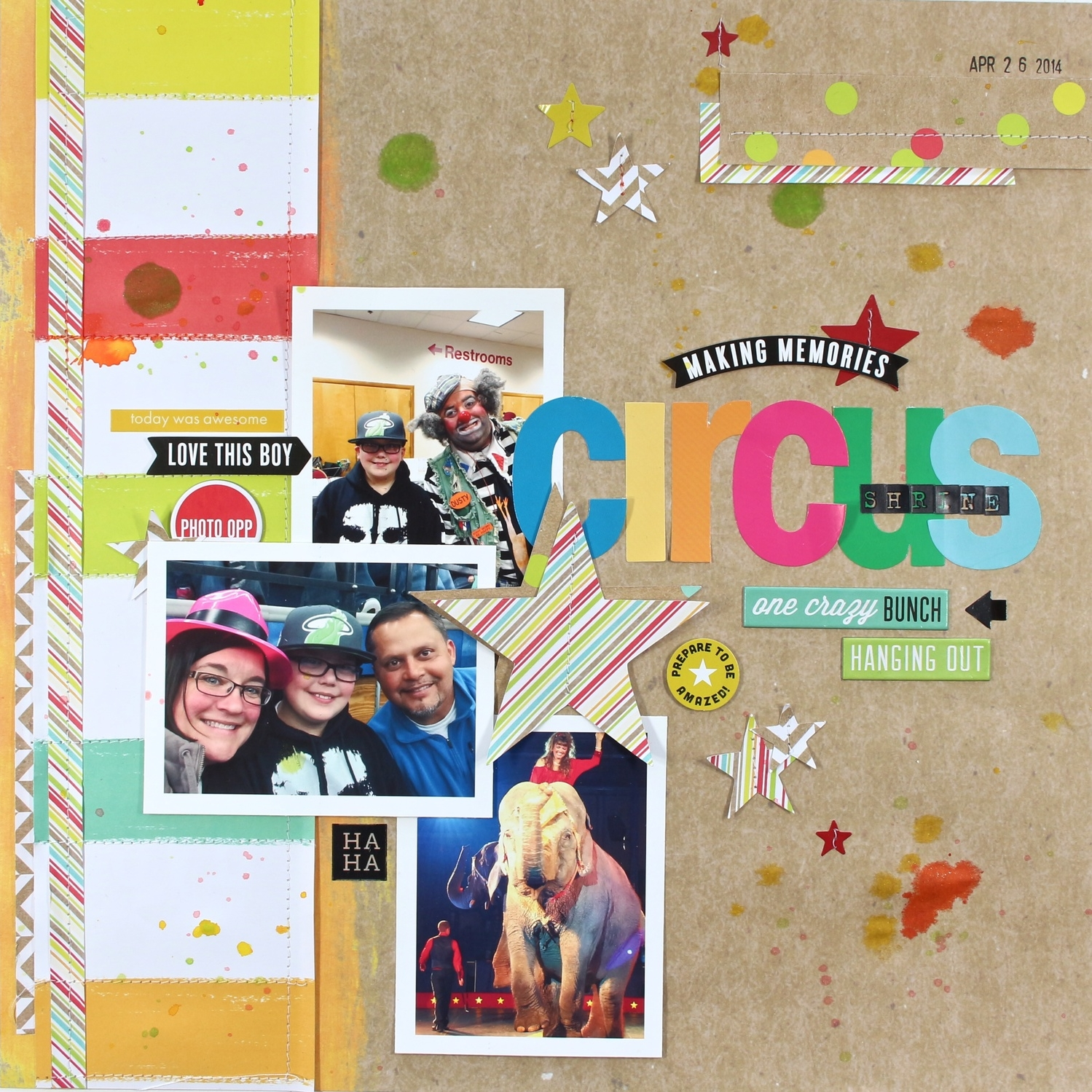 'Circus' scrapbook page