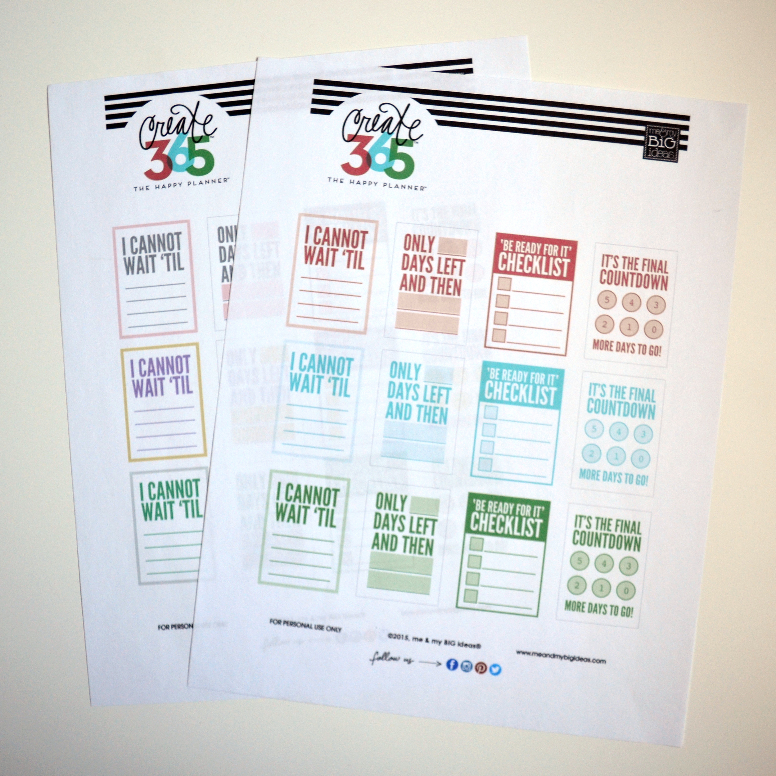 'COUNTDOWN' free printables for Create 365™ The Happy Planner | me & my BIG ideas