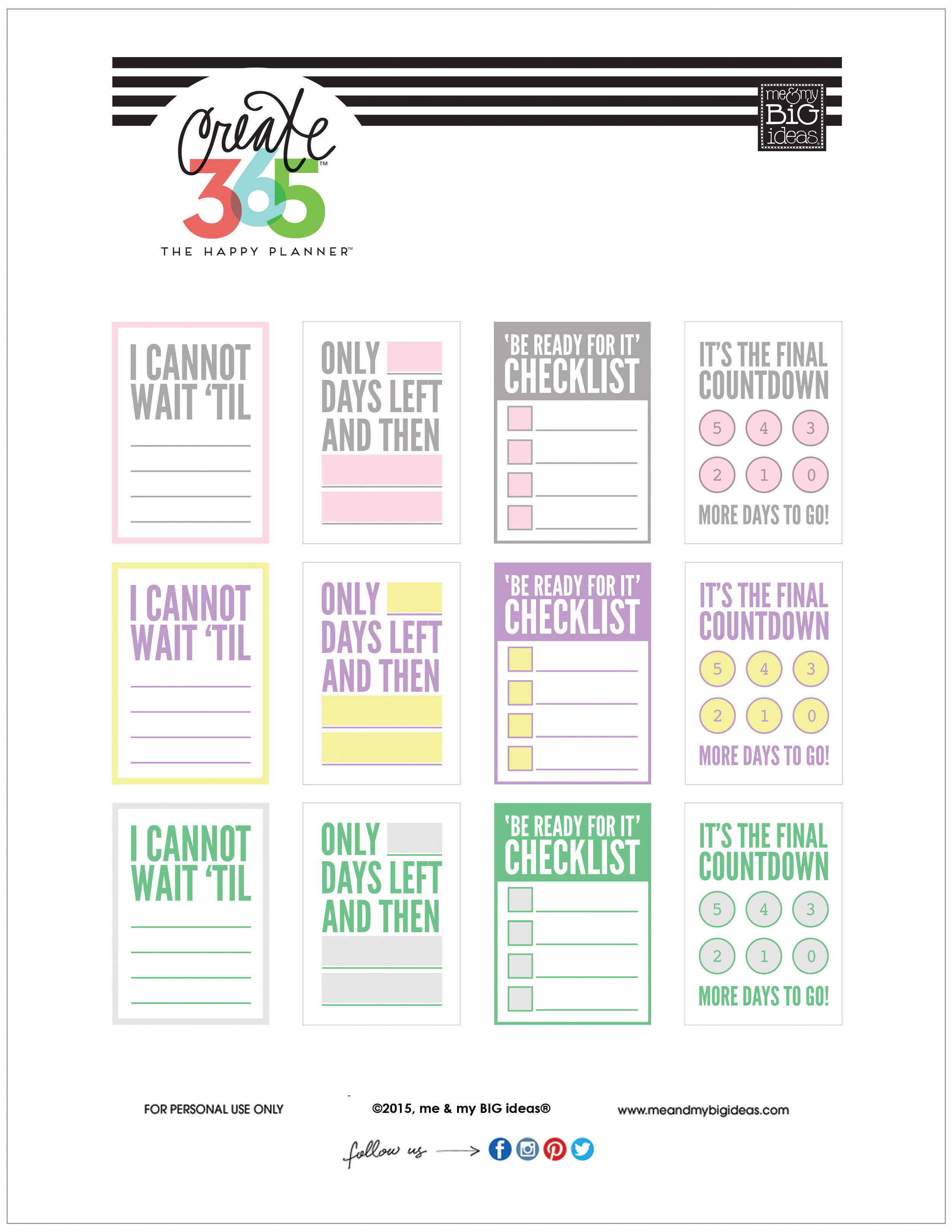 'COUNTDOWN' free printables for The Happy Planner™ | me & my Big ideas