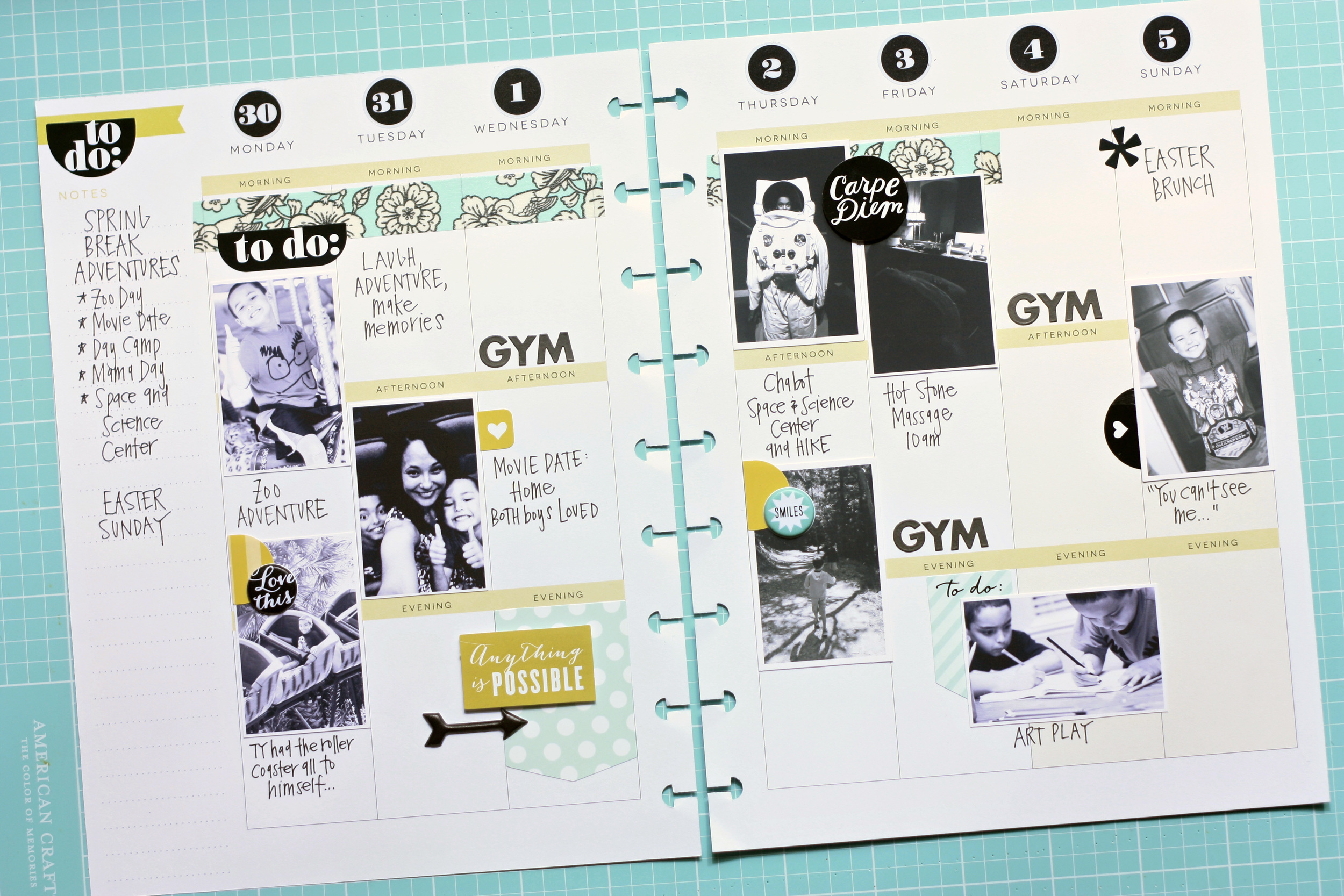 a Create 365™ Happy Planner™ spread by mambi Design Team member April Orr documenting a week full of Spring Break adventures | me & my BIG ideas