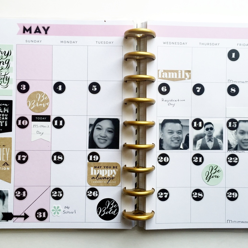 May birthday w/ photos in Happy Planner™ monthly spread