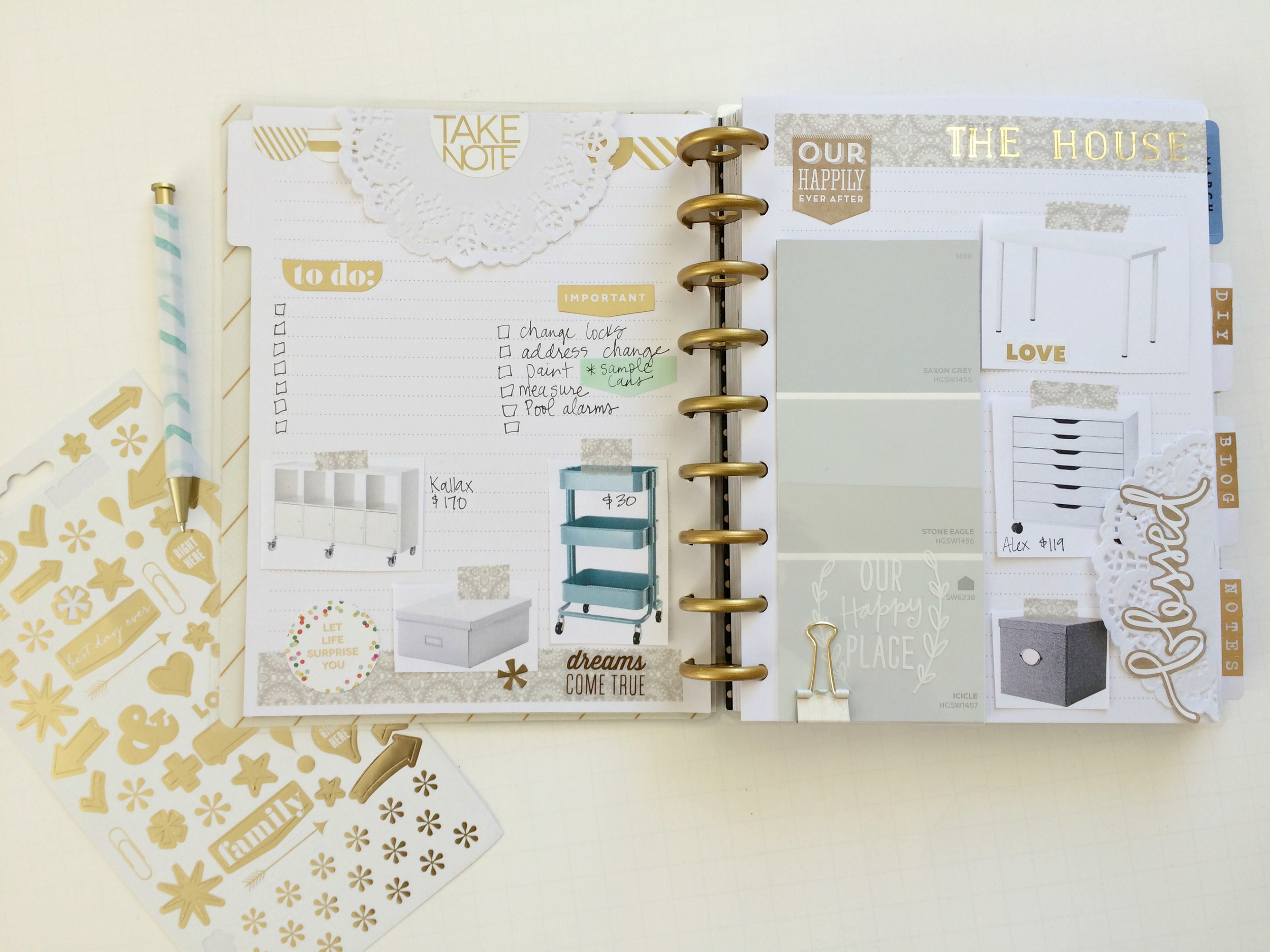 using The Happy Planner™ Notes & Graph Paper Expansion Pack for home remodel organization by mambi Design Team member Jen Randall | me & my BIG dieas