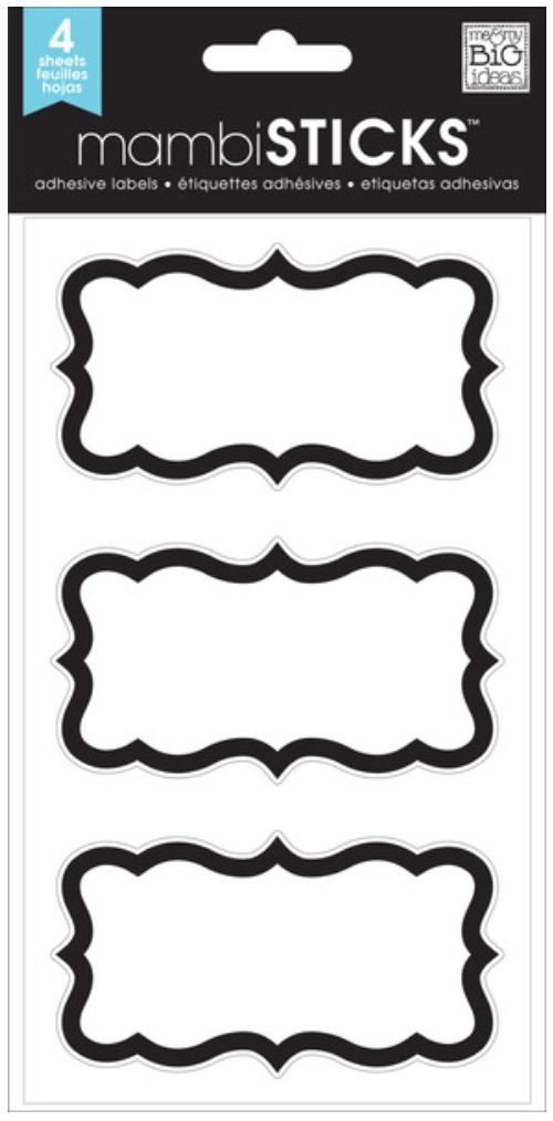 'Fancy Black Bracket' mambiSTICKS label stickers | me & my BIG ideas