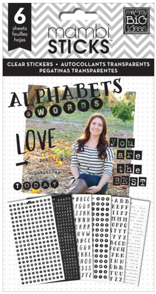 Alphas & Words mambiSTICKS clear black stickers pad | me & my BIG ideas